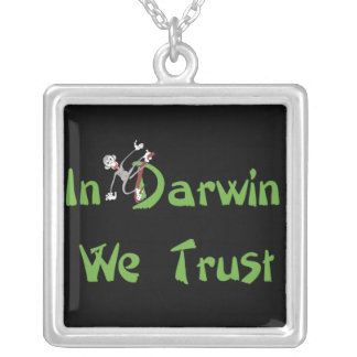 In Darwin We Trust Square Pendant Necklace