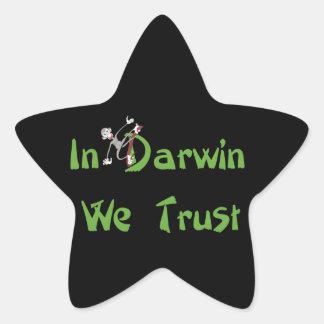 In Darwin We Trust Star Sticker