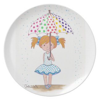 In day of rain, umbrella of colors dinner plate