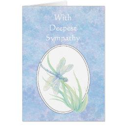 In Deepest Sympathy Beautiful Blue  Dragonfly Card