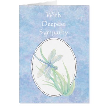 countrymousestudio In Deepest Sympathy Beautiful Blue  Dragonfly Card