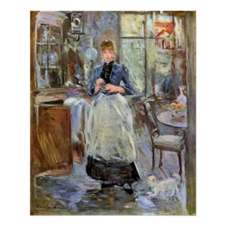 In Dining Room by Berthe Morisot Poster