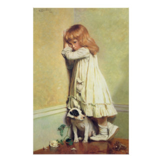In Disgrace by Charles Burton Barber, Vintage Art Poster