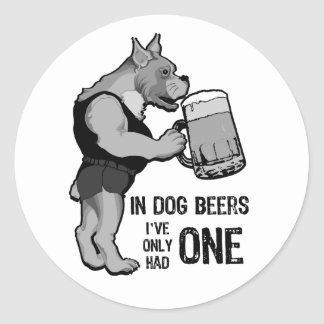 In Dog Beers For Light Background Classic Round Sticker