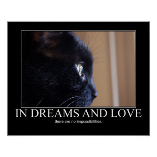 In Dreams and Love Cat Inspiration Artwork Poster