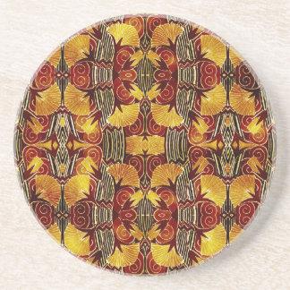 In Flames - Art Deco Pattern Sandstone Coaster