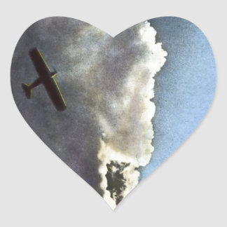 In Flight Above Tokyo Vintage Clouds Sky Japan Heart Sticker