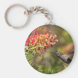 In flight Hummingbird feeding Keychain