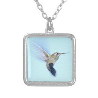 In Flight Hummingbird Square Pendant Necklace