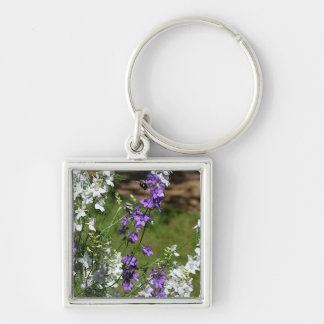 In Flight Silver-Colored Square Keychain