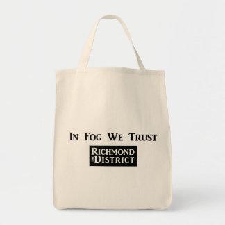 In Fog We Trust Grocery Tote Bags