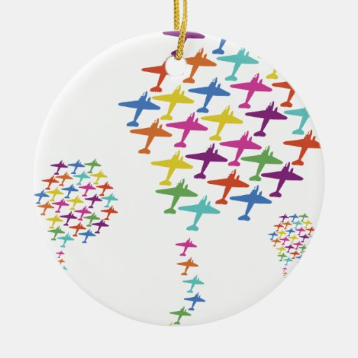 In Formation Airplane Balloon Flight Aviation Ornaments