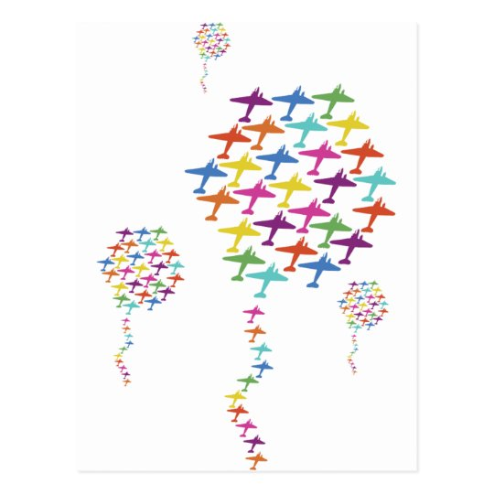 In Formation Airplane Balloon Flight Aviation Postcard