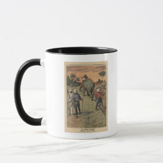 In French Congo, elephant trained to ploughing Mug