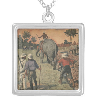 In French Congo, elephant trained to ploughing Silver Plated Necklace