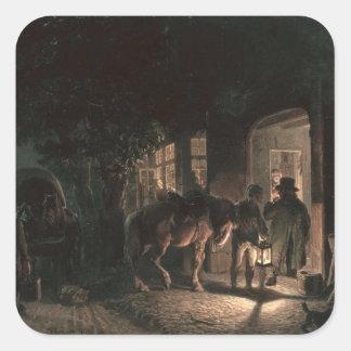 In front of the Pub, 1843 Square Sticker