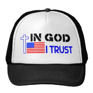 In God I trust flag and cross Trucker Hat