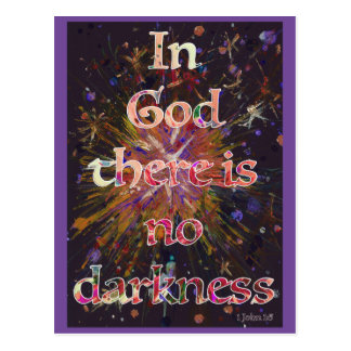 'In God there is no darkness' Bible Quote Art Postcard