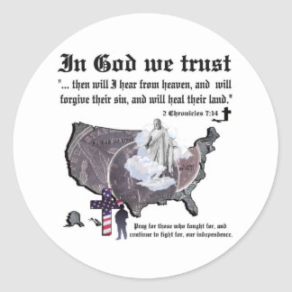 IN GOD WE TRUST - 2 Chronicles 7:14 Classic Round Sticker