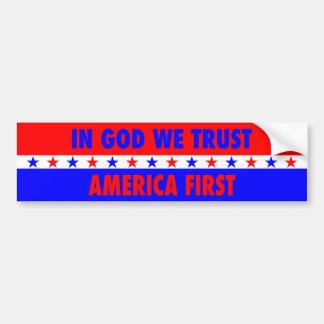 In God We Trust, America First Bumper Sticker