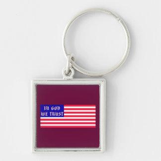In God We Trust American Flag Keychain