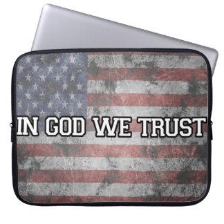 """In God We Trust"" American Flag Laptop Sleeve"