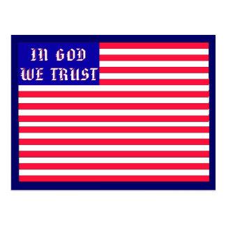 In God We Trust American Flag Postcard