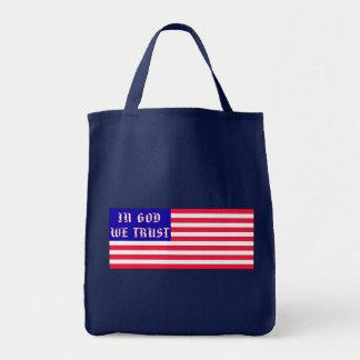 In God We Trust American Flag Tote Bag