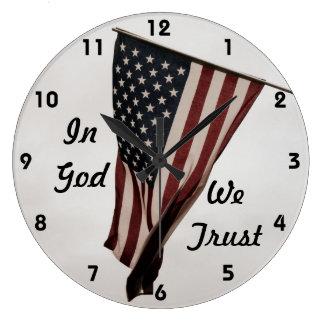 In God We Trust-American Flag Wall Clocks