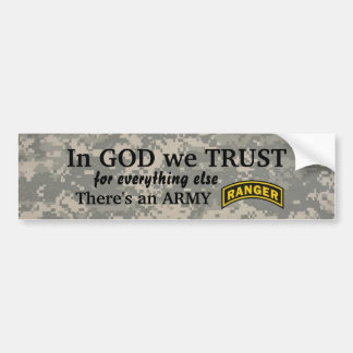 in god we trust Army ranger camo bumper Bumper Sticker