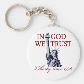 In God We Trust Basic Round Button Keychain