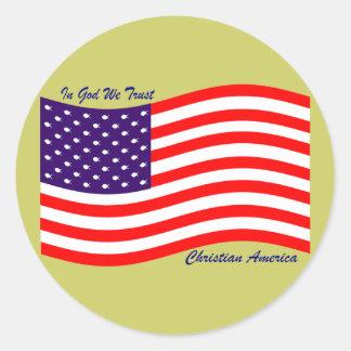 In God We Trust ~ Christian America Classic Round Sticker