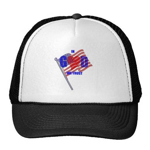 IN GOD WE TRUST Patriotic Heart Flag America Trucker Hat