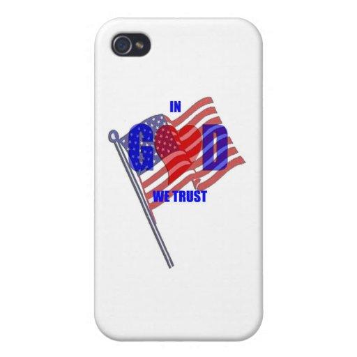IN GOD WE TRUST Patriotic Heart Flag America iPhone 4/4S Case