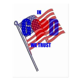 IN GOD WE TRUST Patriotic Heart Flag America Postcard