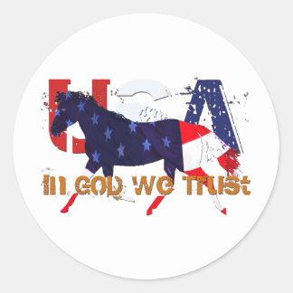 In God We Trust-Patriotic Horse Classic Round Sticker