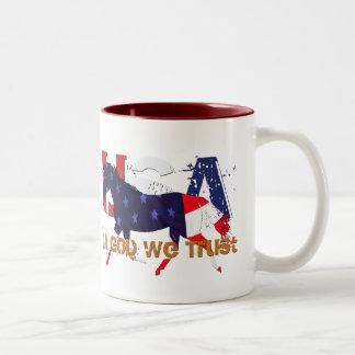 In God We Trust-Patriotic Horse Two-Tone Coffee Mug