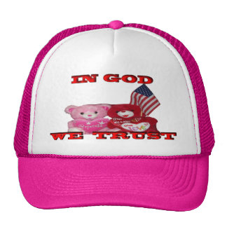 In God We Trust Pink And Red Bear Hat
