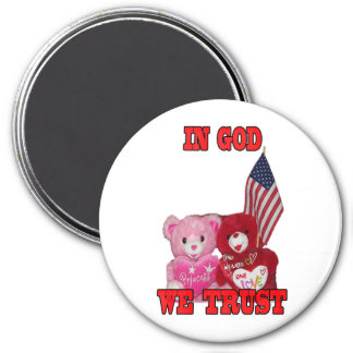 In God We Trust Pink And Red Bears Magnet