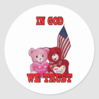 In God We Trust Pink And Red Bears Sticker