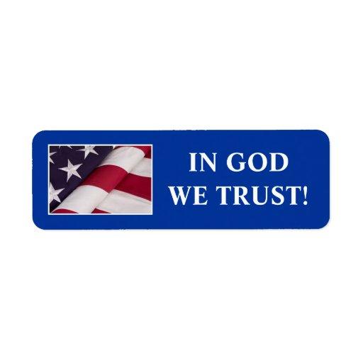 IN GOD WE TRUST! RETURN ADDRESS LABEL