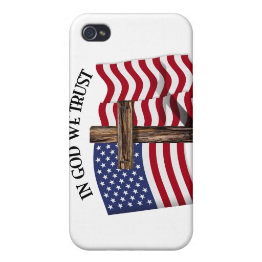 In God We Trust with rugged cross and US flag iPhone 4/4S Cover