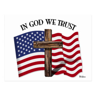 In God We Trust with rugged cross and US flag Postcard