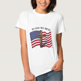 In God We Trust with rugged cross and US flag Shirt