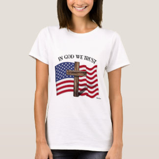 In God We Trust with rugged cross and US flag T-Shirt