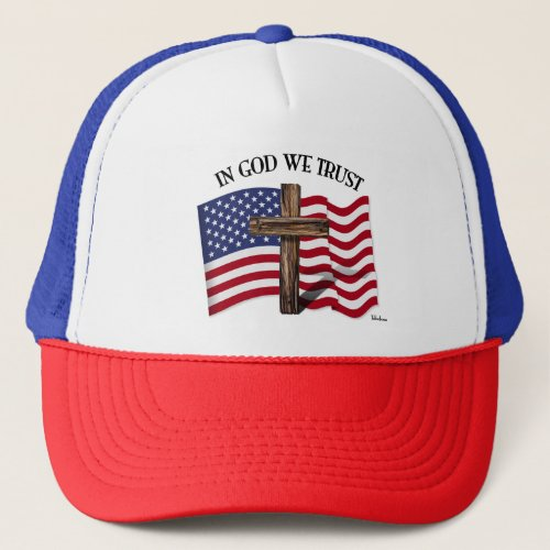 In God We Trust with Rugged Cross and US Flag Trucker Hat