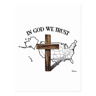 In God We Trust with rugged cross and US outline Postcard