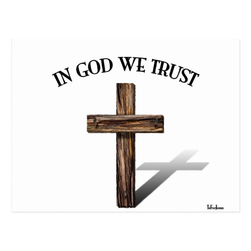 In God We Trust with rugged cross Post Cards