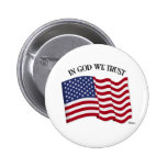 In God We Trust with US flag 2 Inch Round Button