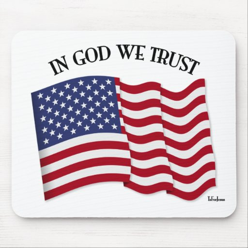 In God We Trust with US flag Mousepad